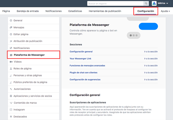 Plataforma de Messenger de Facebook